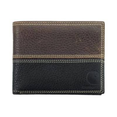 Mens Leather Black/Brown Rugged Passcase Wallet