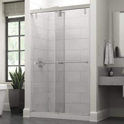 Lyndall 48 x 71-1/2 in. Frameless Mod Soft-Close Sliding Shower Door in Chrome with 3/8 in. (10mm) Clear Glass