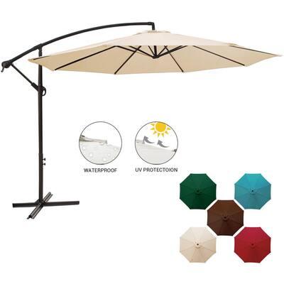 11 ft. Round Steel Cantilever Offset Outdoor Patio Umbrella in Beige