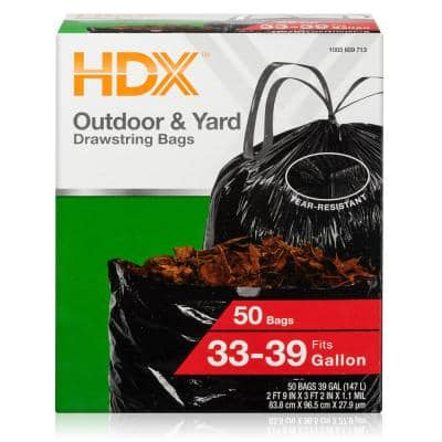 33-39 Gal. Black Heavy Duty Drawstring Trash Bags (50-Count) - For Outdoor and Yard Waste