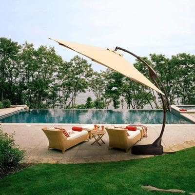 11 ft. Aluminum Pole Octagon Cantilever Patio Umbrella with Base in Beige