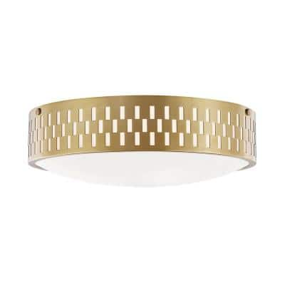 Phoebe 4.5 in. 2-Light Aged Brass Flush Mount with Opal Matte Shade