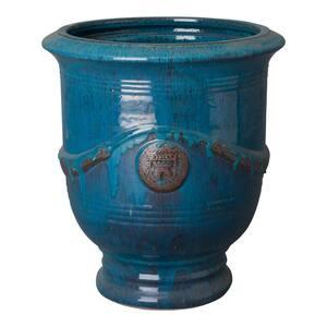 25.5 in. Round Turquoise Ceramic Anduze Planter