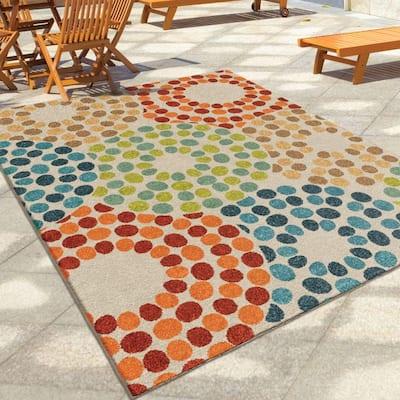 Polka Circles Multi 5 ft. x 8 ft. Indoor/Outdoor Area Rug