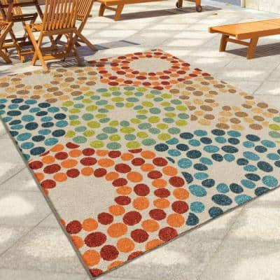Polka Circles Multi 8 ft. x 11 ft. Indoor/Outdoor Area Rug