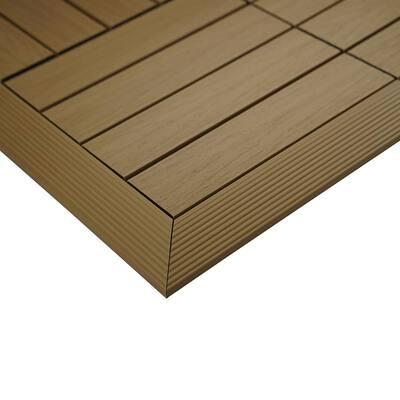 1/6 ft. x 1 ft. Quick Deck Composite Deck Tile Outside Corner Fascia in Japanese Cedar (2-Pieces/Box)
