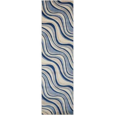 Somerset Ivory/Blue 2 ft. x 8 ft. Floral Contemporary Runner Rug