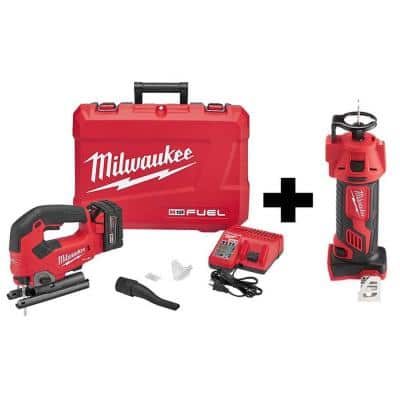 M18 FUEL 18-Volt Lithium-Ion Brushless Cordless Jig Saw Kit W/ M18 Drywall Cut Out Tool