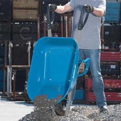 6 cu. ft. Seamless Steel Wheelbarrow with Total Control Handles