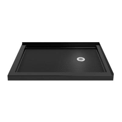 SlimLine 48 in. W x 36 in. D Double Threshold Shower Base in Black with Right Hand Drain