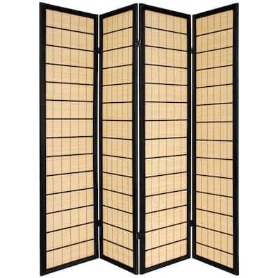 6 ft. Black 4-Panel Room Divider