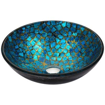 Chipasi Vessel Sink in Blue/Gold Mosaic