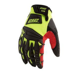 Super Hi-Vis Cut Resistant Level 5 Impact Absorbent Work Safety Gloves, Red/Yellow
