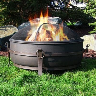34 in. x 23 in. Round Large Steel Cauldron Wood Fire Pit in Black with Spark Screen