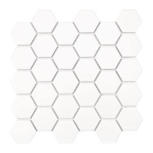 White Hexagon 10.55 in. x 11.02 in. x 6 mm Matte Porcelain Mosaic Tile (12.96 sq. ft. / case)