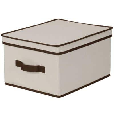 15 in. D x 8 in. H x 12 in. W Natural with Coffee Trim Canvas Cube Storage Bin