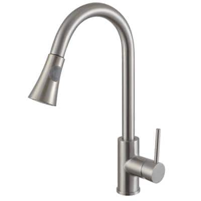 Luxurious Single Handle Pull-Down Sprayer Kitchen Faucet in Brushed Nickel