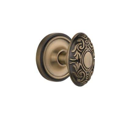 Nostalgic Warehouse Classic Rosette 2 3 8 In Backset Antique Brass Passage Hall Closet Victorian Door Knob 701634 The Home Depot