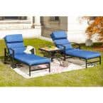 3-Piece Metal Outdoor Chaise Lounger with Blue Cushions