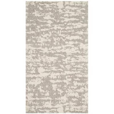 Marbella Light Gray/Ivory 2 ft. x 4 ft. Solid Area Rug