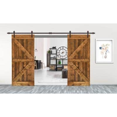60 in. x 84 in. K Series Walnut Stained Solid Knotty Pine Wood Interior Double Sliding Barn Door with Hardware Kit