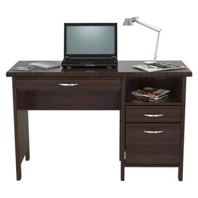 47 in. Rectangular Espresso 2 Drawer Computer Desks with Keyboard Tray