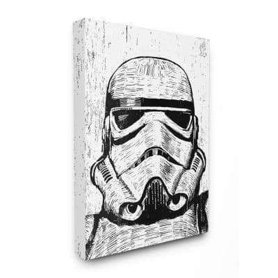 """30 in. x 40 in. """"Black and White Star Wars Stormtrooper Distressed Wood Etching"""" by Artist Neil Shigley Canvas Wall Art"""