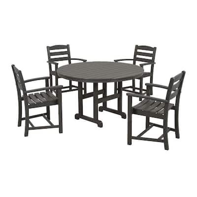 La Casa Cafe Slate Grey 5-Piece Plastic Outdoor Patio Dining Set