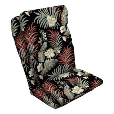 20 in. x 28.5 in. Outdoor Adirondack Chair Cushion in Black Simone Tropical (2-Pack)