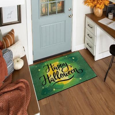 Halloween Moon Green 2 ft. 6 in. x 4 ft. 2 in. Holiday Area Rug