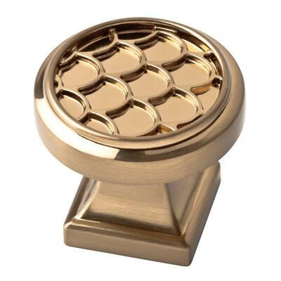 Scalloped 1-1/4 in. (32mm) Champagne Bronze Round Cabinet Knob