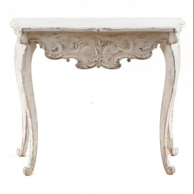 38 in. White Standard Rectangle Wood Console Table