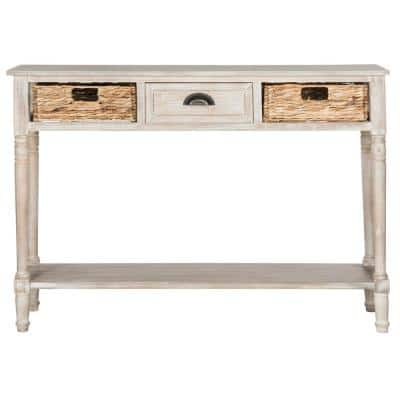 Christa 45 in. Vintage White Standard Rectangle Wood Console Table with Drawers