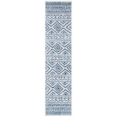 Tulum Ivory/Navy 2 ft. x 9 ft. Runner Rug