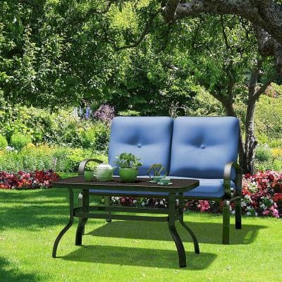 2-Pieces Fabric Outdoor Loveseat and Table Set Cushioned Patio Furniture Set Yard Garden