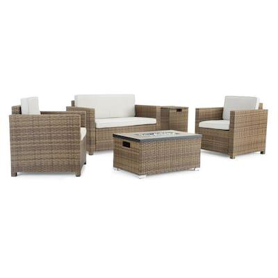 Boulder Brown 4-Piece Wicker Patio Fire Pit Conversation Set with Beige Cushions