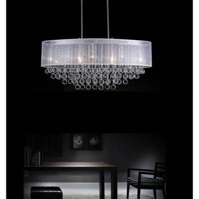 Radiant 9-Light Chrome Chandelier with White Shade