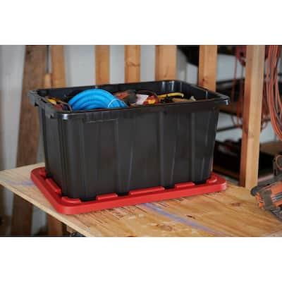 27-Gal. Tough Storage Bin in Red Lid