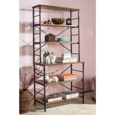 77.2 in. Antique Pewter/Brown Pine Wood 6-shelf Etagere Bookcase with Open Back