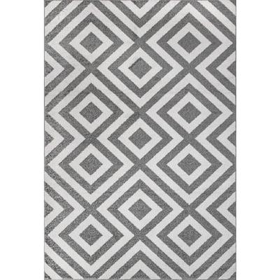 Zadie Geometric Gray 5 ft. x 8 ft. Area Rug