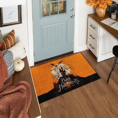 Halloween Hill Orange 2 ft. 6 in. x 4 ft. 2 in. Halloween Indoor Area Rug