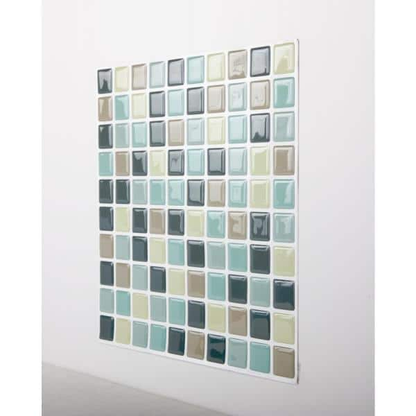 Tic Tac Tiles Mosaic Mintgray 10 In W X 10 In H Peel And Stick Self Adhesive Decorative Mosaic Wall Tile Backsplash 5 Tiles Hd Sqw10 5 The Home Depot