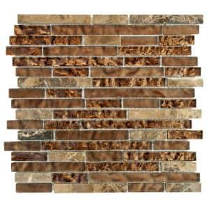 Walnut Foil Emperador Pencil 10.75 in. x 11 in. x 8 mm Interlocking Textured Glass Marble Mosaic Tile