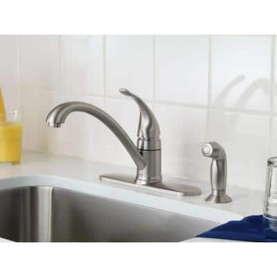 Torrance Low-Arc Single-Handle Standard Kitchen Faucet with Side Sprayer in Spot Resist Stainless