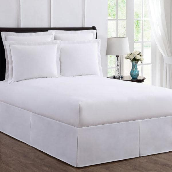 Bed Maker S Tailored Wraparound Bed Skirt Fre24514whit04 The Home Depot