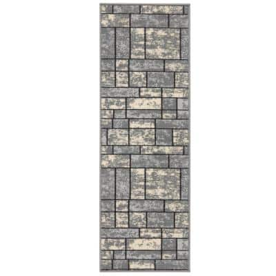 Ottohome Collection Contemporary Boxes Design Gray 20 in. x 59 in. Non-Slip Rubber Back Runner Rug
