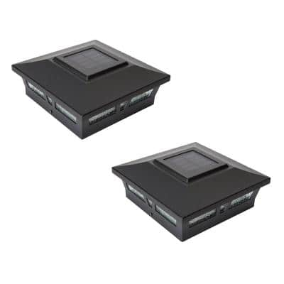 Oxford Black Integrated LED 6 in. x 6 in. Aluminum Solar Post Cap (2-Pack)