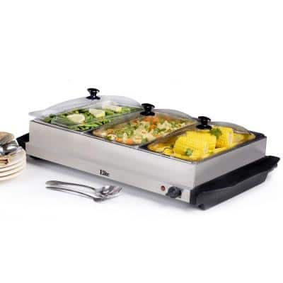 2.5 Qt. Stainless Steel Buffet Server with 3-Crocks