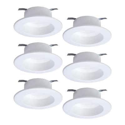 RL 4 in. Selectable CCT (2700K-5000K) Integrated LED White Retrofit Recessed Ceiling Light Trim (6-Packs)