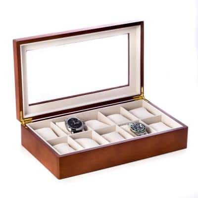 Cherry Wood 10-Watch Box with Glass Top and Velour Lining and Pillows